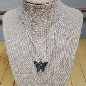Handmade vintage butterfly necklace